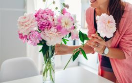 Woman puts pink peonies flowers in vase. Young housewife taking care of coziness on kitchen. Composing bouquet. Home decor