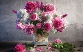 Digitally generated beautiful flower arrangement with Peonies and unripe apple branches.